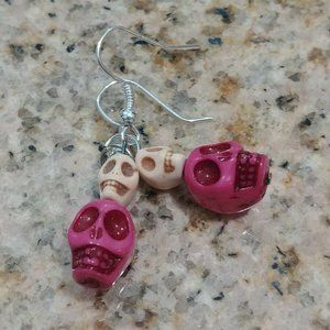 Pink & White Skull Howlite Stone Dangling Earrings